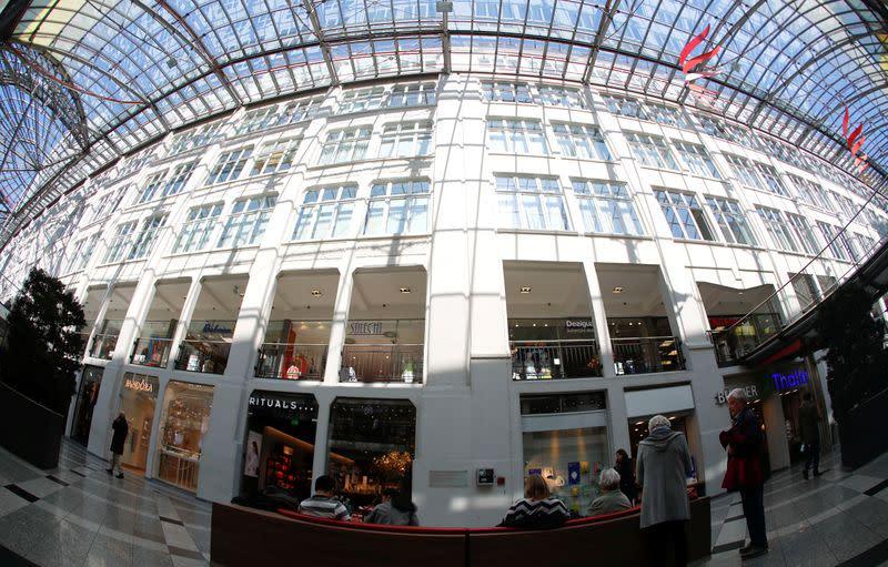 The Goethe Galerie shopping mall next to the headquarters of Jenoptik is pictured in Jena