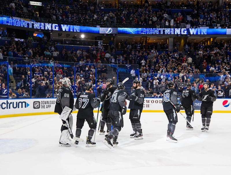 TAMPA, FL - FEBRUARY 29: The Tampa Bay Lightning celebrate the win against the Calgary Flames at Amalie Arena on February 29, 2020 in Tampa, Florida. (Photo by Scott Audette /NHLI via Getty Images)