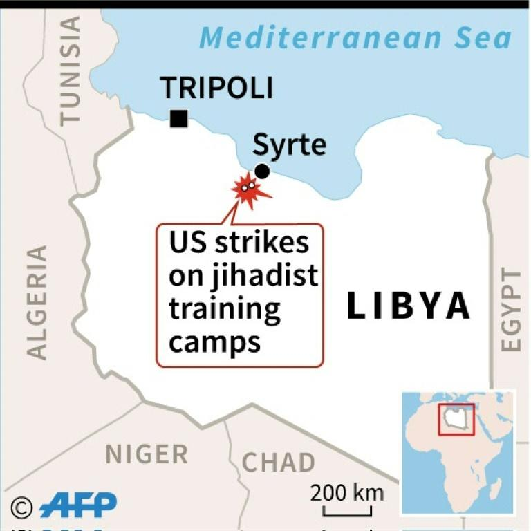 Map locating two US strikes in Libya on Wednesday