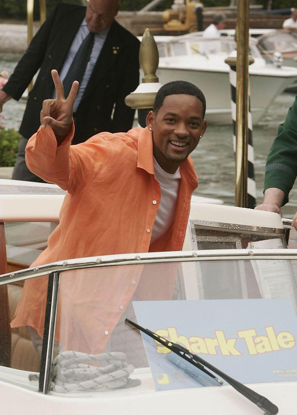 "<p>Will Smith arrives by boat for the ""Shark Tale"" Photocall at the 61st Venice Film Festival on September 10, 2004 in Venice, Italy.</p>"