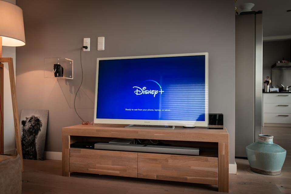 Amsterdam, The Netherlands, 09/28/2019, Disney+ startscreen on tv. Disney+ online video, content streaming subscription service. Disney plus, Star wars, Marvel, Pixar, National Geographic.
