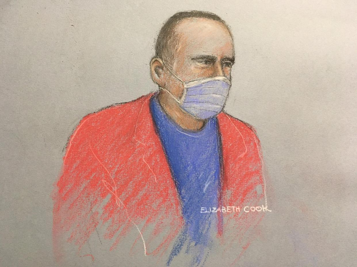A artist sketch of Farrell appearing in court in November 2020. (Elizabeth Cook/PA)