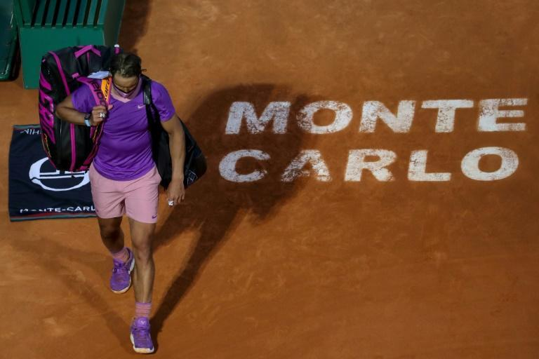 All over: Rafael Nadal leaves the court after losing to Andrey Rublev