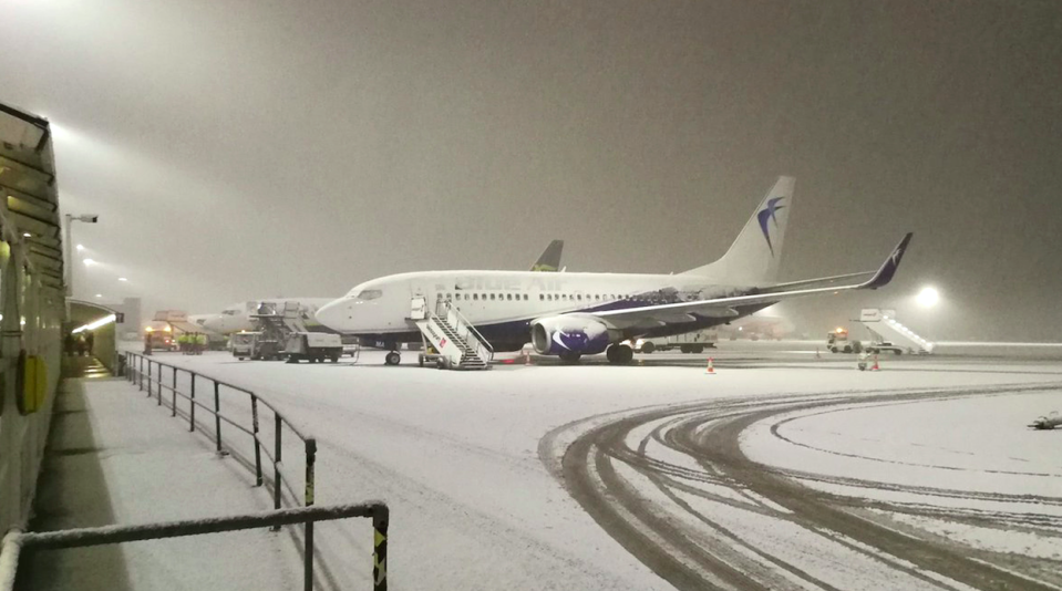 <em>Liverpool Airport has temporarily halted flights due to the severe weather (PA/Twitter/Darren Reece)</em>