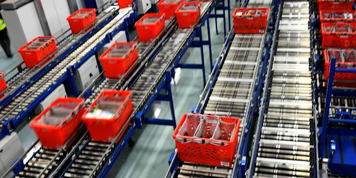 A general view shows the inside the Ocado Customer Fulfilment Centre in Hatfield, UK.