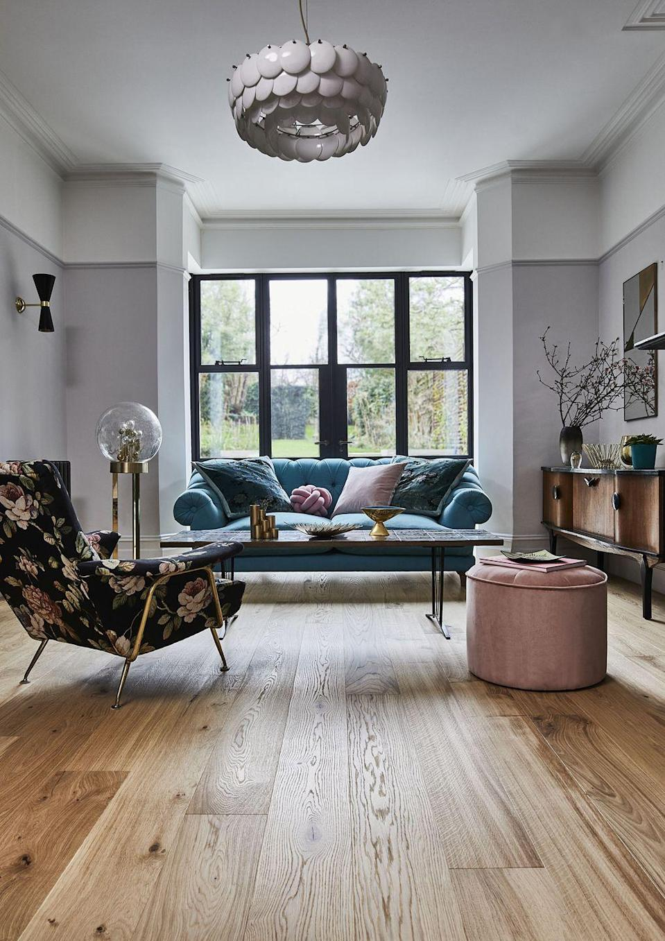 """<p>There's nothing more irritating than a creaky floorboard — especially when you're trying to tiptoe around at night without waking other household members. </p><p>According to Barrows and Forrester, fixing this takes just 30 minutes. 'Just take some talcum powder, soapstone powder or powdered graphite and sprinkle it between the cracks of the offending board or boards and this should do the trick,' they explain. </p><p>Pictured: <a href=""""https://www.carpetright.co.uk/engineered-wood/coniston-buttermere-oak-herringbone-wood-flooring/"""" rel=""""nofollow noopener"""" target=""""_blank"""" data-ylk=""""slk:Coniston Buttermere Oak Herringbone Wood Flooring from the House Beautiful collection at Carpetright"""" class=""""link rapid-noclick-resp"""">Coniston Buttermere Oak Herringbone Wood Flooring from the House Beautiful collection at Carpetright</a></p>"""