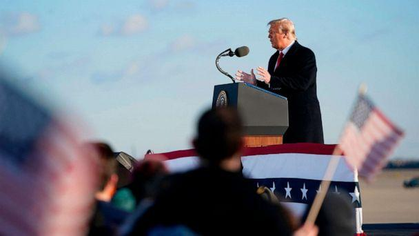 PHOTO: Outgoing President Donald Trump addresses guests at Joint Base Andrews in Maryland, Jan. 20, 2021. (Alex Edelman/AFP via Getty Images)