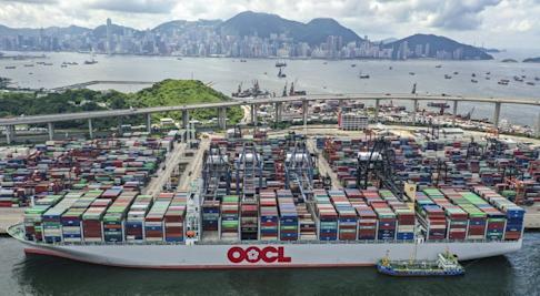 The OOCL Hong Kong, one of the world's largest container ships, berths for the first time at the Hong Kong Container Terminal in July, 2019. Photo: Winson Wong