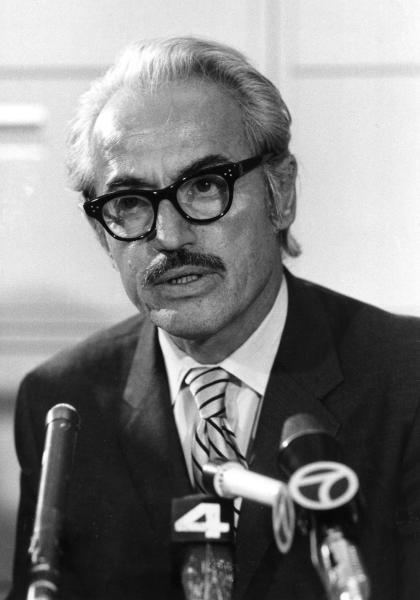 FILE - This April 3, 1972 file photo shows Marvin Miller, executive director of the Major League Baseball Players Association, talking to reporters in New York. Miller, the union leader who created free agency for baseball players and revolutionized professional sports with multimillion dollar contracts, died Tuesday, Nov. 27, 2012 in New York. He was 95. (AP Photo/File)