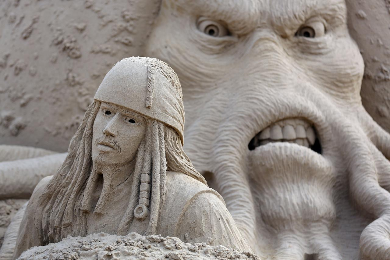 WESTON-SUPER-MARE, ENGLAND - MARCH 26:  Detail of a sand sculpture of Pirates of the Caribbean  is seen as pieces are prepared as part of this year's Hollywood themed annual Weston-super-Mare Sand Sculpture festival on March 26, 2013 in Weston-Super-Mare, England. Due to open on Good Friday, currently twenty award winning sand sculptors from across the globe are working to create sand sculptures including Harry Potter, Marilyn Monroe and characters from the Star Wars films as part of the town's very own movie themed festival on the beach.  (Photo by Matt Cardy/Getty Images)