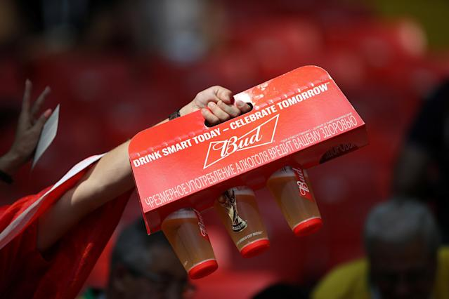 Soccer Football - World Cup - Group G - Belgium vs Tunisia - Spartak Stadium, Moscow, Russia - June 23, 2018 Fan holds beer inside the stadium before the match REUTERS/Carl Recine