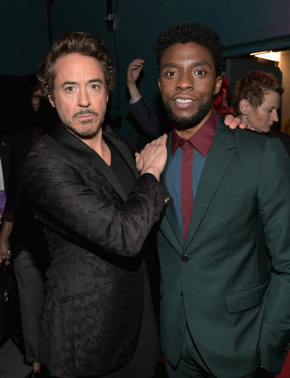 HOLLYWOOD, CA - APRIL 23:  Actors Robert Downey Jr. (L) and Chadwick Boseman attend the Los Angeles Global Premiere for Marvel Studios' Avengers: Infinity War on April 23, 2018 in Hollywood, California.  (Photo by Charley Gallay/Getty Images for Disney)