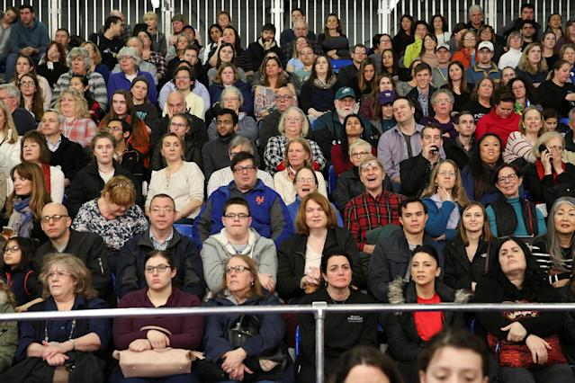 <p>Audience members watch dogs compete in the Masters Agility Championship during the Westminster Kennel Club Dog Show in New York, Feb. 10, 2018. (Photo: Caitlin Ochs/Reuters) </p>