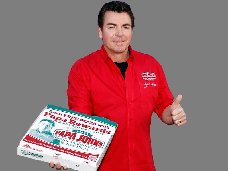 John Schnatter headshot, as Papa John's Pizza CEO, graphic element on gray