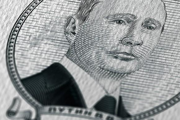 Putin's image on a banknote