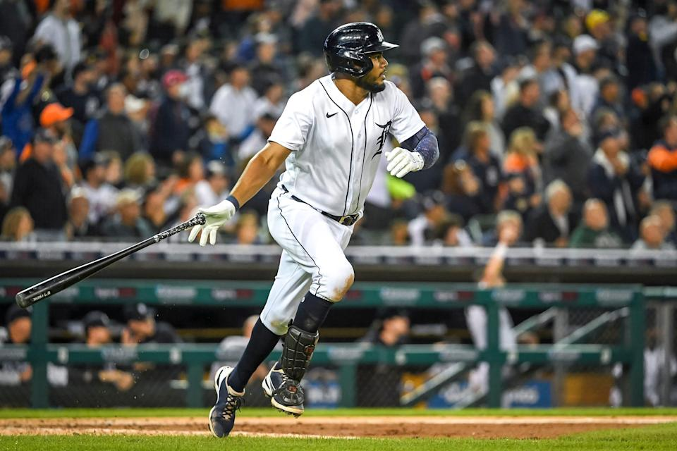 Jeimer Candelario of the Detroit Tigers doubles on a line drive to Edward Olivares of the Kansas City Royals during the bottom of the sixth inning at Comerica Park on Sept. 25, 2021 in Detroit.