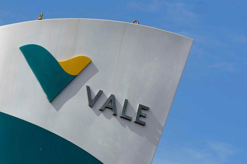 FILE PHOTO: The logo of the Brucutu mine owned by Brazilian mining company Vale SA is seen in Sao Goncalo do Rio Abaixo