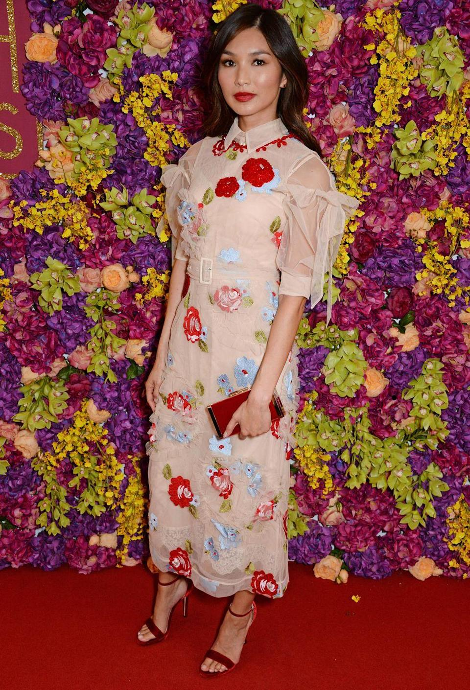 <p>For a screening of the hugely popular rom come, Chan wore a chic floral midi dress from Simone Rocha's Autumn/Winter 2018 collection. </p>