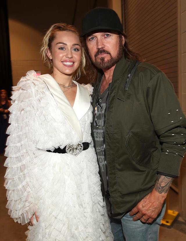 <p>Miley Cyrus and Billy Ray Cyrus attend the 2017 Billboard Music Awards at T-Mobile Arena on May 21, 2017 in Las Vegas, Nevada. (Photo by Chris Polk/BBMA2017/Getty Images for DCP) </p>
