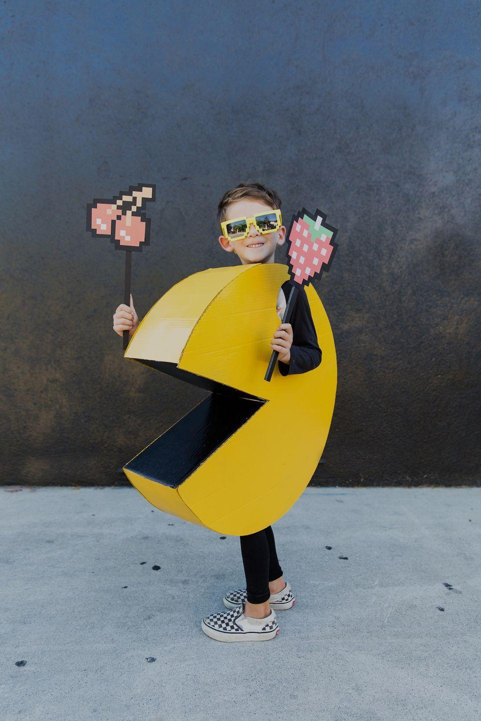 """<p>Teens will love dressing as this iconic video game character. The fun costume starts with cardboard and duct tape!</p><p><strong>Get the tutorial at <a href=""""https://theeffortlesschic.com/diy-kids-pac-man-halloween-costume/"""" rel=""""nofollow noopener"""" target=""""_blank"""" data-ylk=""""slk:The Effortless Chic"""" class=""""link rapid-noclick-resp"""">The Effortless Chic</a>.</strong><br> </p>"""