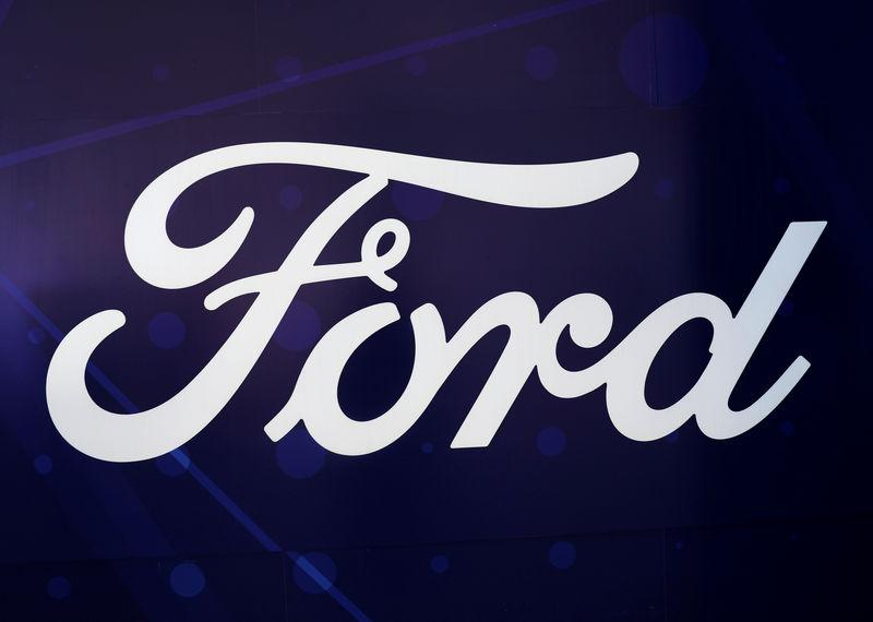 The logo of Ford is seen at the International Auto Show in Mexico City