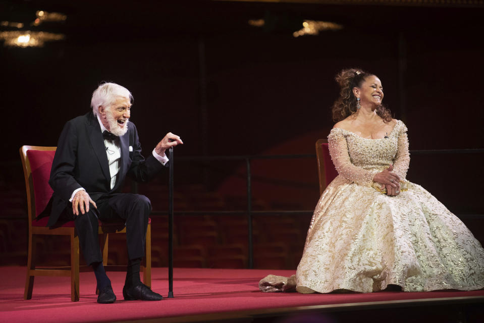 Actor Dick Van Dyke, and choreographer, and actress Debbie Allen laugh during a press event at the 43nd Annual Kennedy Center Honors at The Kennedy Center on Friday, May 21, 2021, in Washington. (AP Photo/Kevin Wolf)