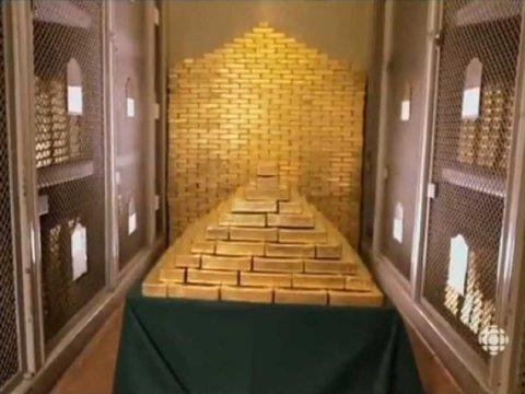gold bars in vault