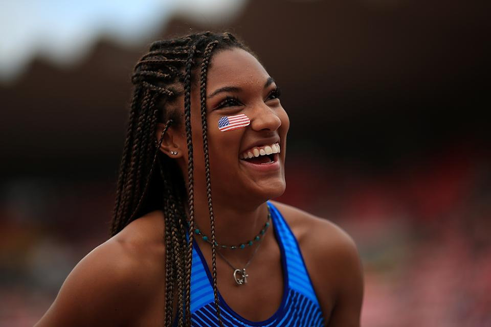 <p>Tara Davis of The USA looks on during qualifying for the women's long jump on day three of The IAAF World U20 Championships on July 12, 2018 in Tampere, Finland. (Photo by Ben Hoskins/Getty Images for IAAF)</p>