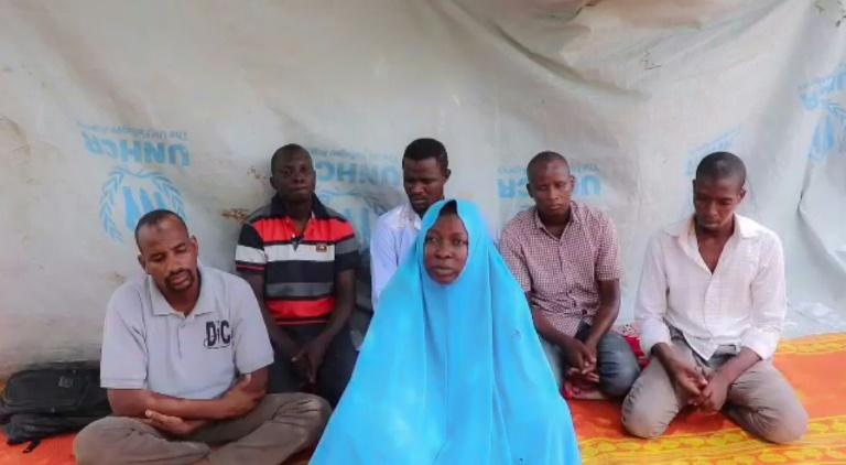 A July 2019 video released by the Islamic State West Africa Province (ISWAP) purportedly shows a female Action Against Hunger (AFC) employee and her five male colleagues that the jihadists kidnapped in northeast Nigeria (AFP Photo/Handout)