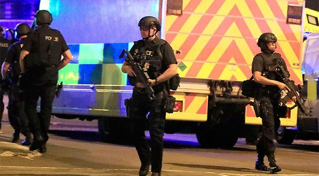 There is a heavy armed police presence in the area following the blast. Source: AP