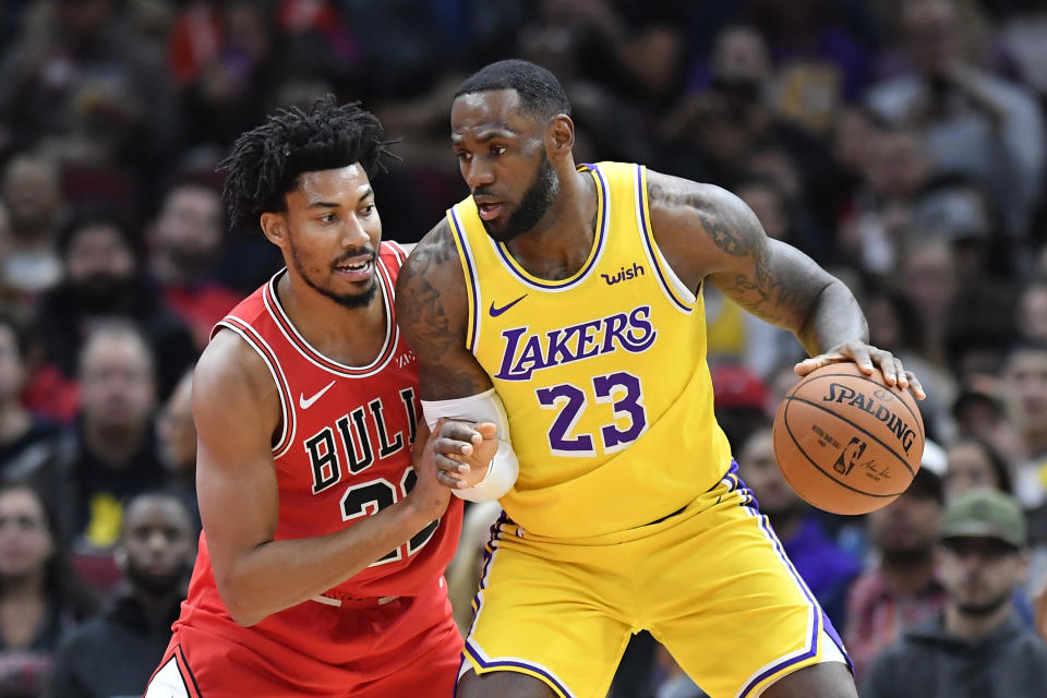 LeBron James logged his third straight triple-double as the Lakers stole a win in Chicago. (Quinn Harris/Reuters)