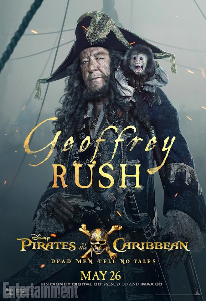 <p>Also returning for another voyage, it's Geoffrey Rush as Captain Barbossa. He's the villain, turned ally, turned villain, turned ally… and this time, it looks as though he'll be teaming up with Captain jack to help put a stop to the villainous Salazar. Can he be trusted? Not likely.<br />(Credit: Disney) </p>