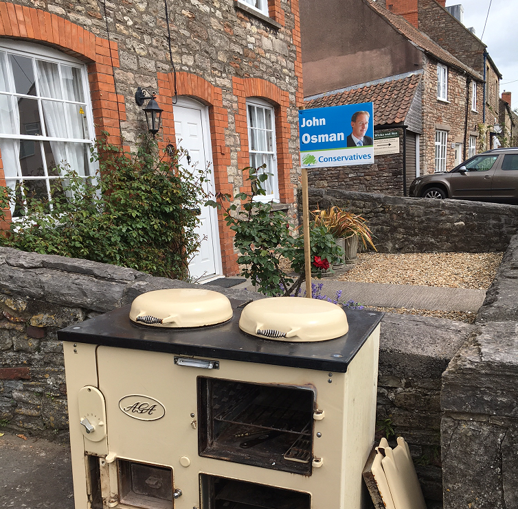 Wells: a discarded Aga and a Tory poster for Somerset county council elections on Thursday. Photo: John Rentoul