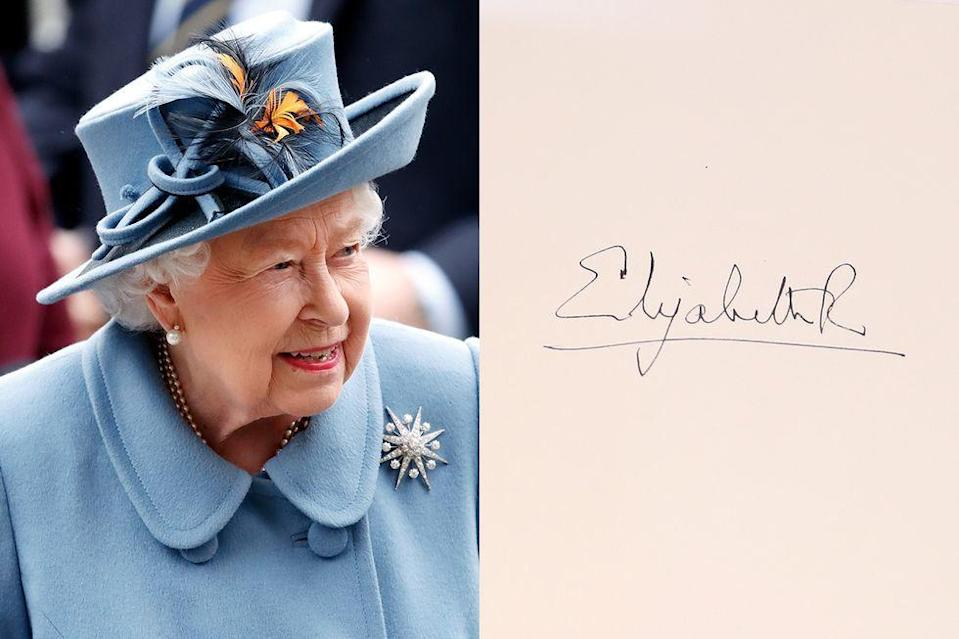 <p>Many let their signatures devolve into a line or two as they age—but not the 95-year-0ld British monarch.</p>
