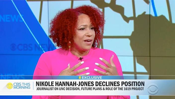 Journalist Nikole Hannah-Jones announces on CBS This Morning that she is declining the tenured position at the University of North Carolina.