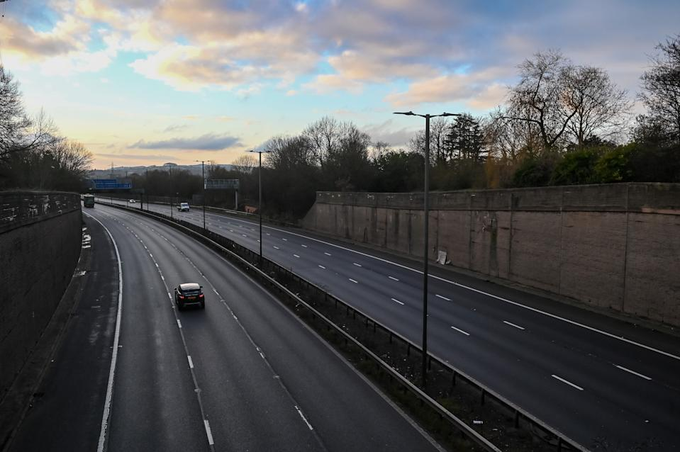 An empty stretch of the M5 motorway on Tuesday. (SWNS)
