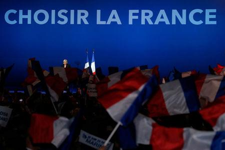 Marine Le Pen, French National Front (FN) candidate for 2017 presidential election, attends a campaign rally in Villepinte