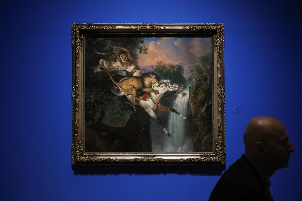 <p>Raden Saleh's iconic works including Arab Horseman Attacked By A Lion (1842) are on show at National Gallery Singapore till 11 March 2018 for the new blockbuster exhibition. (Photo: Don Wong for Yahoo Lifestyle Singapore) </p>