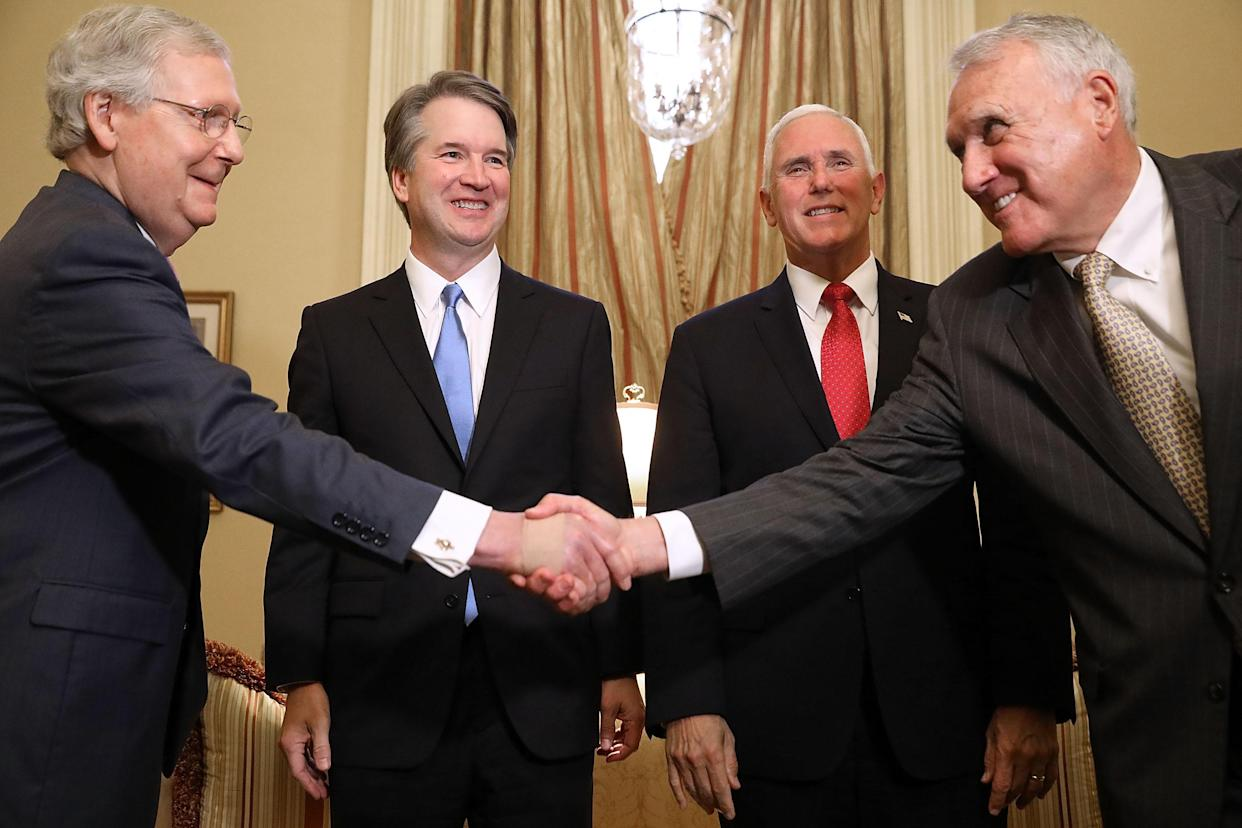 Senate Majority Leader Mitch McConnell, R-Ky., Brett Kavanaugh, Vice President Mike Pence and former Sen. Jon Kyl, R-Ariz., before a meeting in Washington on July 10. (Photo: Chip Somodevilla/Getty Images)