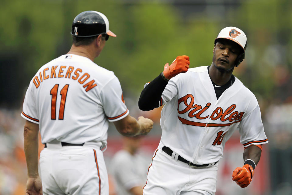 Baltimore Orioles' Adam Jones, right, fist-bumps third base coach Bobby Dickerson as he rounds the bases after hitting a solo home run in the fourth inning of a baseball game against the Chicago White Sox, Sunday, Sept. 8, 2013, in Baltimore. (AP Photo/Patrick Semansky)