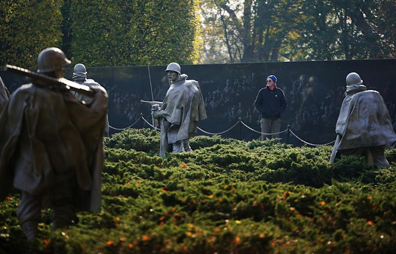 A visitor to the Korean War Memorial is seen on Veterans Day on Nov. 11, 2019 in Washington, DC. (Photo: Mandel Ngan/AFP via Getty Images)
