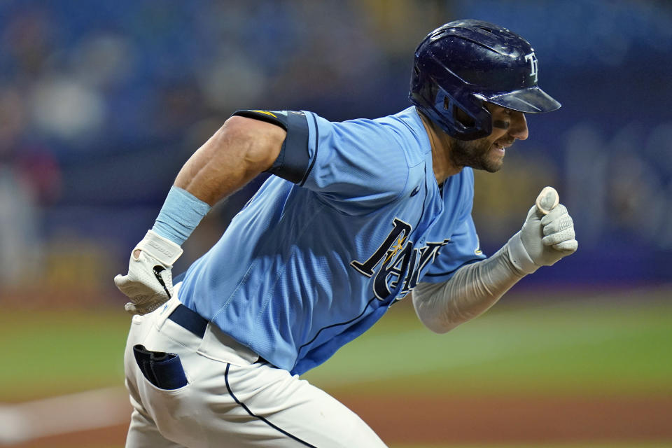 Tampa Bay Rays' Kevin Kiermaier runs the bases after his double off Boston Red Sox relief pitcher Darwinzon Hernandez during the eighth inning of a baseball game Thursday, June 24, 2021, in St. Petersburg, Fla. (AP Photo/Chris O'Meara)