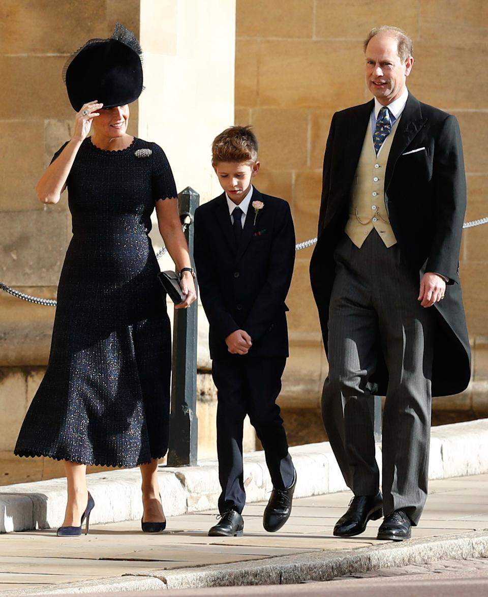 <p>Sophie wore this navy dress in 2018 and has already reworn it twice. With men now allowed to wear navy suits, she could bring it back for 2021. (PA Images)</p>