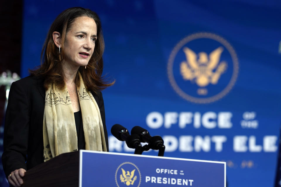 President-elect Joe Biden's Director of National Intelligence nominee Avril Haines speaks at The Queen theater, Tuesday, Nov. 24, 2020, in Wilmington, Del. (AP Photo/Carolyn Kaster)