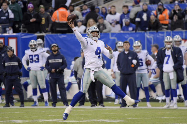 Dallas Cowboys quarterback Dak Prescott throws the ball during the second half of an NFL football game against the New York Giants, Sunday, Dec. 30, 2018, in East Rutherford, N.J. The Cowboys defeated the Giants 36-35. (AP Photo/Bill Kostroun)