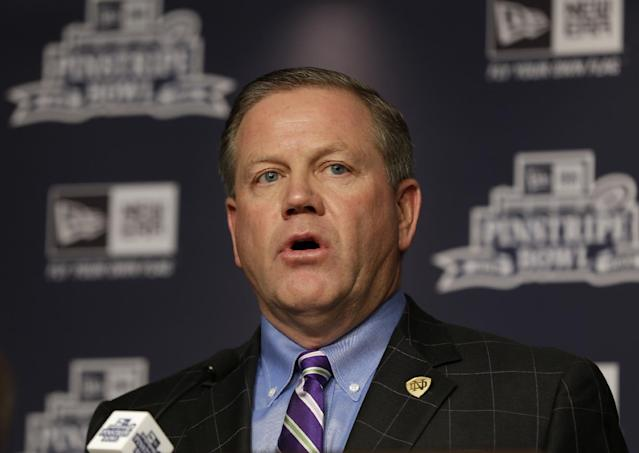 Notre Dame coach Brian Kelly speaks during an NCAA college football news conference in New York, Tuesday, Dec. 10, 2013. Rutgers and Notre Dame will face off at the Pinstripe Bowl at Yankee Stadium on Saturday, Dec. 28, 2013. (AP Photo/Seth Wenig)