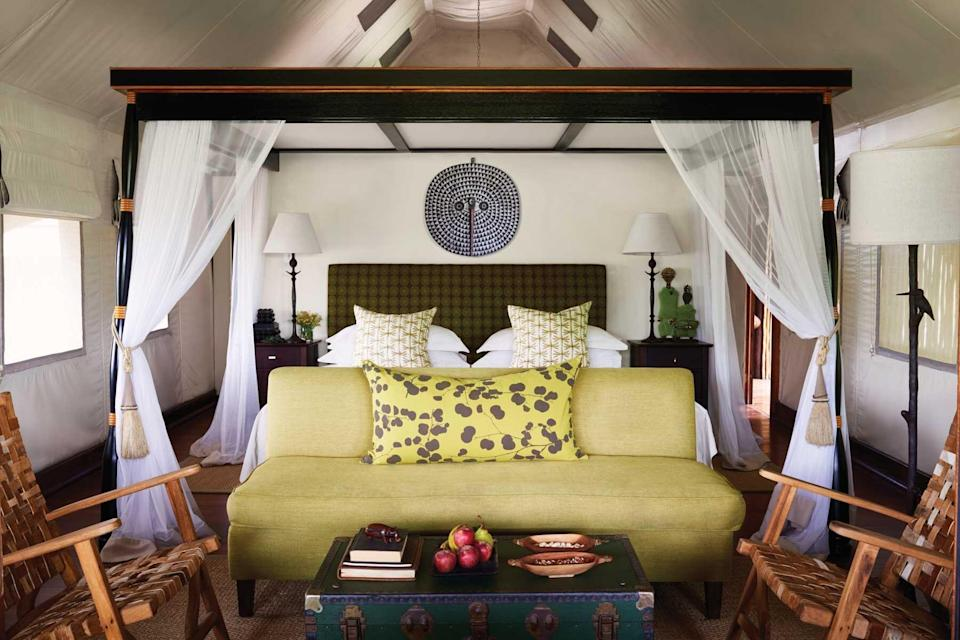 A guest room at the Belmond Khwai River Lodge, voted one of the best hotels in the world