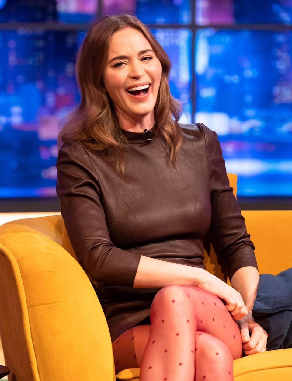 <p>Emily Blunt guest stars on <em>The Jonathan Ross Show</em> on Saturday in London.</p>