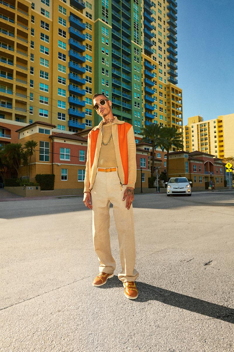 On Armando: Jacket, $2,995, Missoni, sweater, $690, pants, $1,190, by Salvatore Ferragamo / Belt, $125, by Maximum Henry / Shoes, $1,450, by Jimmy Choo / Sunglasses, $410, by Moscot / Jewelry, his own