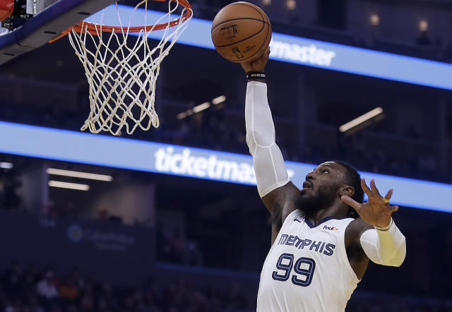 Memphis Grizzlies' Jae Crowder lays up a shot against the Golden State Warriors in the first half of an NBA basketball game Monday, Dec. 9, 2019, in San Francisco. (AP Photo/Ben Margot)
